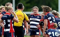 The Referee talks to the Bristol Ladies forwards - Mandatory by-line: Robbie Stephenson/JMP - 18/09/2016 - RUGBY - Cleve RFC - Bristol, England - Bristol Ladies Rugby v Aylesford Bulls Ladies - RFU Women's Premiership