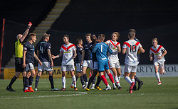 Airdrie's keeper David Hutton reacts to Raith Rovers Iain Davidson (4) who then got a red card from ref Alan Newlands after hitting Airdrie's Grant Gallagher. Airdrie 3 v 4 Raith Rovers, Scottish Football League Division One played 25/8/2018 at the Excelsior Stadium.