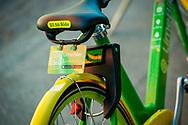 2018 FEBRUARY 12 - Lime Bike parked on a sidewalk in downtown Seattle, WA, USA. By Richard Walker
