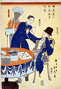 British merchant at banquet in a  foreign trading house in Yokohama, Japan, being waited on by a Chinese man, Thai chef in the background, 1861. Trade Commerce International  Japanese