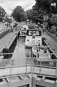 Maidenhead, United Kingdom.  General Views Raymill Island banks of the River Thames. <br /> Tuesday. 01.08.2017.<br /> <br /> [Mandatory Credit. Peter SPURRIER Intersport Images}.<br /> <br /> Note. Nikon FM3a.  50mm, f1.4 film B/W, TMax 100. 100/1 Agfa Rodinal. 60 min dev time.