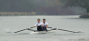 Henley. England, GB Rowing crews training on Henley Reach.<br /> Photo Peter Spurrier.<br /> 11/03/2004 - British International Rowing -<br /> GBR M2- stroke [left] Rick Dunn and Toby Garbutt.   [Mandatory Credit. Peter SPURRIER/Intersport Images]