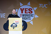 Owen Jones speaking to the crowds at the TUC No to Austerity demo outside the Conservative party conference, Manchester. 4th October 2015