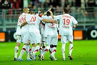 FOOTBALL - FRENCH CHAMPIONSHIP 2010/2011 - L1 - FC LORIENT v PARIS SAINT GERMAIN - 14/11/2010 - PHOTO PASCAL ALLEE / DPPI - JOY BREST AFTER NOLAN ROUX' GOAL