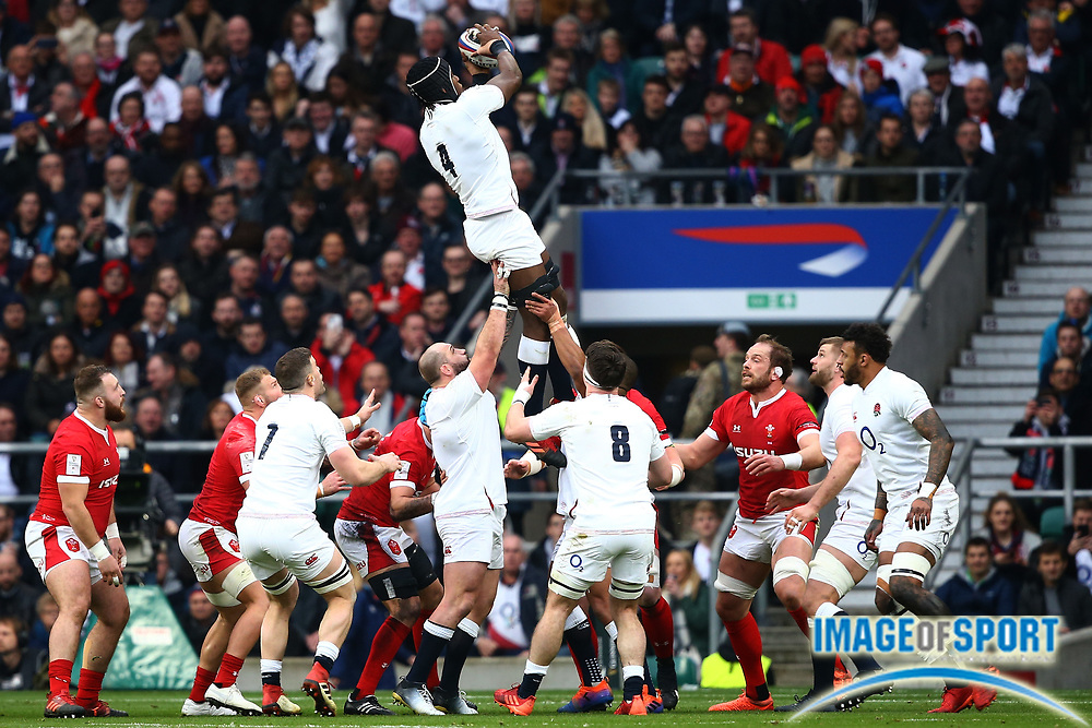 Maro Itoje of England wins the ball in a lineout during the Guinness Six Nations between England and Wales at Twickenham Stadium, Saturday, March 7, 2020, in London, United Kingdom. (Mitchell Gunn-ESPA-Images/Image of Sport)