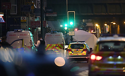 A police forensic tent erected at Finsbury Park in north London, where one man has died, eight people taken to hospital and a person arrested after a van struck pedestrians.