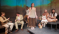 I wish to die singing <br /> voices from the Armenian genocide <br /> by Neil McPherson <br /> at The Finborough Theatre <br /> London, Great Britain <br /> press photocall <br /> 21st April 2015 <br /> <br /> Kate Binchy<br /> Jilly Bond<br /> Bevan Celestine<br /> Su-see hung <br /> Tamar Karabetyan <br /> Tom Marshall <br /> Simon Yadoo <br /> <br /> Photograph by Elliott Franks <br /> Image licensed to Elliott Franks Photography Services