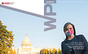Covid-19 Researcher Marni Hall Photographed by Jeff Mauritzen appearing on cover of WPI Journal.