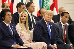 """Shinzo Abe (Japanese Prime Minister), Ivanka Trump (Advisor to the President of the United States), Donald J. Trump (US President) and Joko Widodo (Indonesia's President) - Side event organized by the Japanese Prime Minister, on the theme """"Promoting the place of women at work"""" at the Intex Osaka congress center at the G20 summit in Osaka, Japan, on June 29, 2019. Photo by Dominque Jacovides/Pool/ABACAPRESS.COM"""