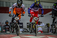 #42 (SCHIPPERS Jay) NED, #100 (MAHIEU Romain) FRA during practice at the 2019 UCI BMX Supercross World Cup in Manchester, Great Britain