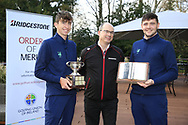 Tom McKibbin winner of the junior Bridgestone Order of Merit Rob Brazill Senior order of Merit pictured with Colm Conyngham Bridgestone Ireland at the presentations in the GUI National Academy, Maynooth, Kildare, Ireland. 30/11/2019.<br /> Picture Fran Caffrey / Golffile.ie<br /> <br /> All photo usage must carry mandatory copyright credit (© Golffile | Fran Caffrey)