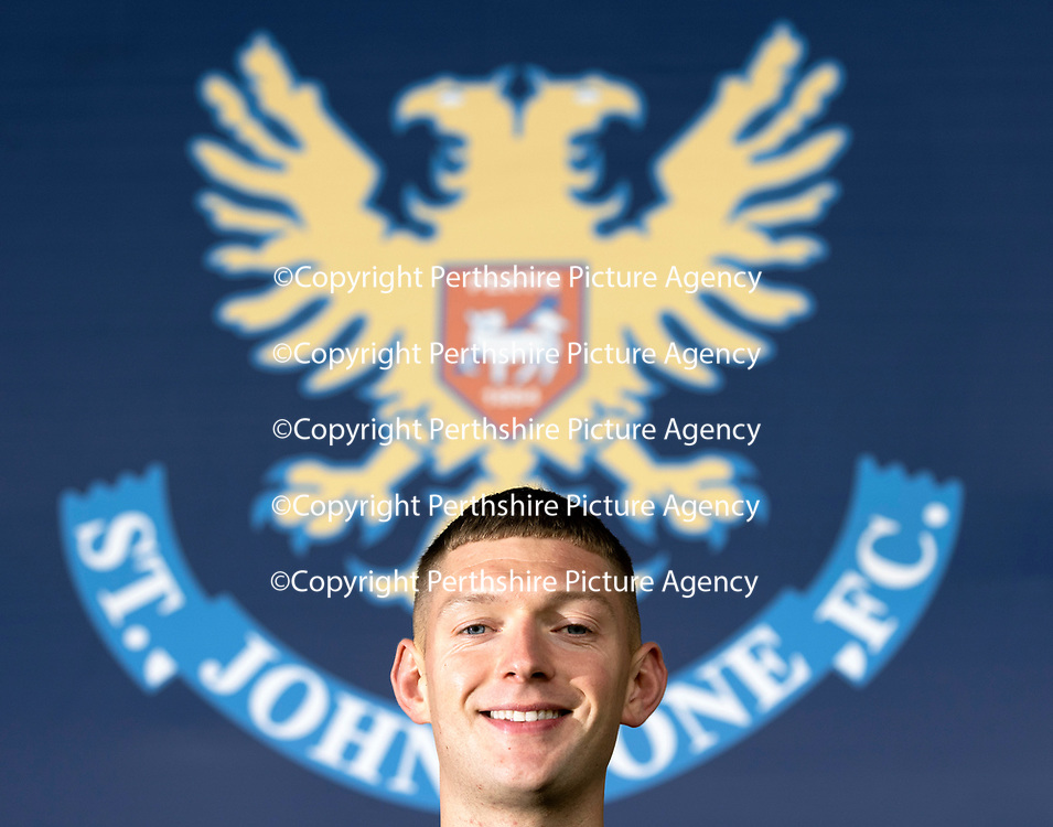 Liam Gordon pictured at McDiarmid Park this afternoon (05.10.21) after signing a two year contract extension with St Johnstone until 2024.<br />Picture by Graeme Hart.<br />Copyright Perthshire Picture Agency<br />Tel: 01738 623350  Mobile: 07990 594431