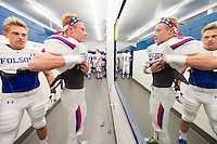 Folsom Bulldogs Zach Mcmillan (15), gets ready in the locker room before the game as the Oak Ridge Trojans host the Folsom Bulldogs, Friday October 30, 2015.<br /> Brian Baer/Special to the Bee