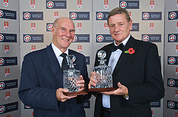 CARDIFF, WALES - Wednesday, November 11, 2009: Former Wales international goalkeepers Ken Jones, who was a member of the 1958 World Cup Squad and Gary Sprake (1964-1974) with their special awards during the Football Association of Wales Player of the Year Awards hosted by Brains SA at the Cardiff City Stadium. (Pic by David Rawcliffe/Propaganda)