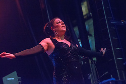 Philip Oakey, Joanne Catherall, Susan Ann Sulley (blonde) of The Human League perform on the Waverley stage, Edinburgh's Hogmanay Street Party, Sunday 31st December.