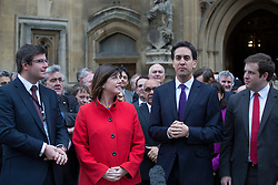 © licensed to London News Pictures. London, UK 19/11/2012. Labour party leader Ed Miliband  with new Labour MPs Andy Sawford, Lucy Powell and Stephen Doughty, outside the House of Commons following their by-election victories last week. Photo credit: Tolga Akmen/LNP
