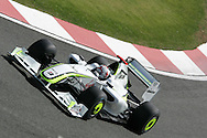 2009 Formula 1 Santander British Grand Prix at Silverstone in Northants, Great Britain. action from Friday practice on 19th June 2009. Jenson Button of Great Britain drives his Brawn GP car..