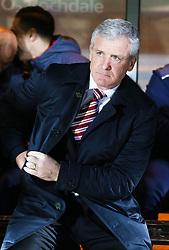 Stoke City Manager Mark Hughes   - Photo mandatory by-line: Matt McNulty/JMP - Mobile: 07966 386802 - 26/01/2015 - SPORT - Football - Rochdale - Spotland Stadium - Rochdale v Stoke City - FA Cup Fourth Round