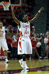 18 February 2012:  Bryant Allen is the happiest guy on the court and works to get the crowd into the game during an ESPN Bracketbuster mens basketball game Where the Oakland Golden Grizzlies lost to the Illinois State Redbirds 79-75 in Redbird Arena, Normal IL