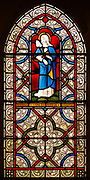 Stained glass window depicting Blessed Virgin Mary, Kenton church, Suffolk, England, UK 1871 Lavers, Barraud and Westlake