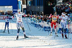 March 16, 2019 - Falun, SWEDEN - 190316  Maja Dahlqvist and Ida Ingemarsdotter of Sweden in the Women's cross-country skiing sprint semi final during the FIS Cross-Country World Cup on march 16, 2019 in Falun  (Credit Image: © Daniel Eriksson/Bildbyran via ZUMA Press)