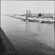 """9904-B02-7. """"Dredge pipe & pontoons holding up electric cable at Crown Mills, March 26, 1957"""" caption published in the Oregonian March 26, 1957 pg. 15 """"Tug Plucks Power Cables to aid River Dredging."""" (Cable went from Crown Mills to the Permanente Cement plant. 120mm negatives. View looking west, showing the east bank of the Willamette River.)"""