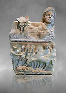 150-27 B.C Etruscan Hellenistic style cinerary urn,  National Archaeological Museum Florence, Italy , grey art background .<br /> <br /> If you prefer to buy from our ALAMY PHOTO LIBRARY  Collection visit : https://www.alamy.com/portfolio/paul-williams-funkystock - Scroll down and type - Etruscan Florence - into LOWER search box. (TIP - Refine search by adding a background colour as well).<br /> <br /> Visit our ETRUSCAN PHOTO COLLECTIONS for more photos to download or buy as wall art prints https://funkystock.photoshelter.com/gallery-collection/Pictures-Images-of-Etruscan-Historic-Sites-Art-Artefacts-Antiquities/C0000GgxRXWVMLyc