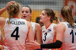 Marije ten Brinke of Netherlands, Hyke Lyklema of Netherlands in action during Brazil - Netherlands, FIVB U20 Women's World Championship on July 11, 2021 in Rotterdam