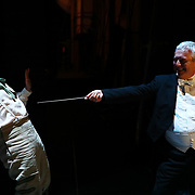 British conductor Hilary Griffiths (R) jokes with baritone Morgan Pearse before a performance of the Barber of Seville at the English National Opera in London, Britain, 30 October 2017.  English National Opera (ENO) is an opera company based in London. It is one of the two principal opera companies in London. English National Opera traces its roots back to 1931 when Lilian Baylis established the Sadler's Wells Opera Company at the newly re-opened the Sadler's Wells Theatre. Baylis had been presenting opera concerts and theatre in London since 1898 and was passionate about providing audiences with the best theatre and opera at affordable prices. ENO became the first British opera company to tour the United States, and the first major foreign opera company to tour what was then the Soviet Union.EPA-EFE/NEIL HALL