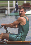 Henley, Great Britain,  1988 Henley Royal Regatta, Henley Reach, River Thames, Annual Event. [Mandatory credit: Peter Spurrier/Intersport Images] Diamond Challenge Sculls Mike HARRIS, NCRA.,