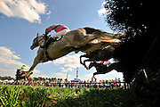 20 March 2010 : Horses clear a jump in the sixth and final race of the day at the Aiken Steeplechase.