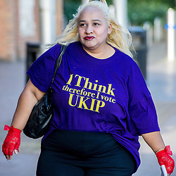 September 17, 2016 - London, England, United Kingdom - Image ©Licensed to i-Images Picture Agency. 17/09/2016. London, United Kingdom. A UKIP supporter arrives for the second day of the UKIP conference in Bournemouth. Picture by i-Images (Credit Image: © i-Images via ZUMA Wire)