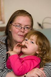 Sally Wright, who only has weeks to live is to marry her partner Adam Gray this coming Saturday. Pic at home at at 22 Primrosebank, Galashiels. Pic with Oliver (6 months) & Alyssa (3)..Pic ©2010 Michael Schofield. All Rights Reserved.