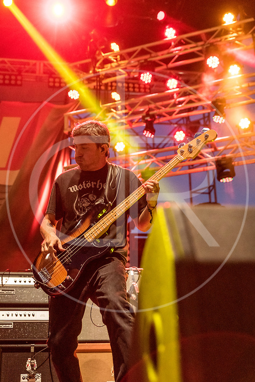 BALTIMORE United States - September 19, 2015: Dan Maines of Clutch, performs at The Shindig, in Baltimore's historic Carroll Park