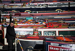 © Licensed to London News Pictures. 04/05/2019. London, UK. Canal boats line the tow path during the Canalway Cavalcade festival in Little Venice, West London on Saturday, May 4th 2019. Inland Waterways Association's annual gathering of canal boats brings around 130 decorated boats together in Little Venice's canals on May bank holiday weekend. Photo credit: Ben Cawthra/LNP