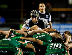 Dan Lydiate of Ospreys packs down at No. 8<br /> <br /> Photographer Simon King/Replay Images<br /> <br /> Guinness PRO14 Round 7 - Ospreys v Connacht - Friday 26th October 2018 - The Brewery Field - Bridgend<br /> <br /> World Copyright © Replay Images . All rights reserved. info@replayimages.co.uk - http://replayimages.co.uk