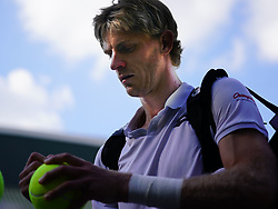 July 11, 2018 - London, England, U.S. - LONDON, ENG - JULY 11: Kevin Anderson (RSA) signing autographs after winning his quarter final match on July 11, 2018, defeating number 1 seed Roger Federer (SUI) 13 -11 in the fifth set at the Wimbledon Championships played at the AELTC, London, England. (Photo by Cynthia Lum/Icon Sportswire) (Credit Image: © Cynthia Lum/Icon SMI via ZUMA Press)