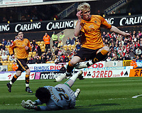 Photo: Kevin Poolman.<br />Wolverhampton Wanderers v Southampton. Coca Cola Championship. 31/03/2007. Andy Keogh of Wolves can't get to the ball before Southampton keeper Bartosz Bialkowski.