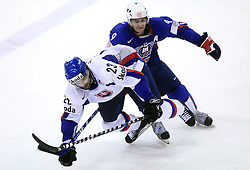 Ivan Majesky of Slovakia and Tomaz Razingar of Slovenia at ice-hockey game Slovenia vs Slovakia at second game in  Relegation  Round (group G) of IIHF WC 2008 in Halifax, on May 10, 2008 in Metro Center, Halifax, Nova Scotia, Canada. Slovakia won after penalty shots 4:3.  (Photo by Vid Ponikvar / Sportal Images)