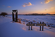 Harrisburg, PA, Riverfront Park, Peace Garden Sculpture, Winter Snow, Ice on Susquehanna River