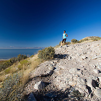 Female trail runner at Antelope Island State Park, Utah