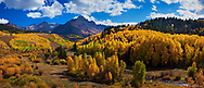 In this stitched panorama, Mount Sneffels towers over a roiling sea of fall colors.