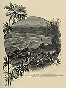THE RIVER KISHON [now a very polluted an toxic river] FROM EL MAHRAKAH,  [Dir el Muhraka], The place of Elijah's sacrifice. A Bedawin encampment in the foreground, and the hills of Galilee in the distance beyond a forest of oak-trees. Wood engraving of from 'Picturesque Palestine, Sinai and Egypt' by Wilson, Charles William, Sir, 1836-1905; Lane-Poole, Stanley, 1854-1931 Volume 3. Published in by J. S. Virtue and Co 1883