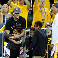 12 June 2017: Golden State Warriors guard Klay Thompson (11) is seen with Golden State Warriors forward Matt Barnes (22) sons during the Golden State Warriors 129-120 victory over the Cleveland Cavaliers, in game 5 of the 2017 NBA Finals, at the Oracle Arena, Oakland, California, USA.