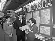 05/01/1989.01/05/1989.5th January 1989.The Aer Lingus Young Scientist of the Year Award at the RDS, Dublin ..Picture shows Michael Smith, T.D., Minister for Energy with Aileen Maher, St Mary's Secondary School, Nenagh, Co. Tipperary explaining her project 'Oh No Ozone.' Louise Curran of Aer Lingus is also in picture.