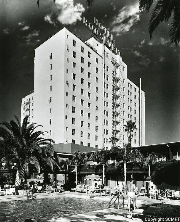 1957 Pool area at the Hollywood Roosevelt Hotel