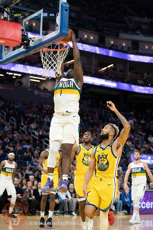 February 23, 2020; San Francisco, California, USA; New Orleans Pelicans forward Zion Williamson (1) dunks the basketball during the fourth quarter against the Golden State Warriors at Chase Center.