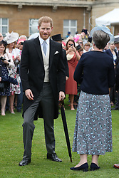 The Duke of Sussex meets guests during a Royal Garden Party at Buckingham Palace in London.