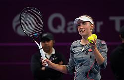 February 14, 2019 - Doha, QATAR - Elise Mertens of Belgium celebrates winning her quarter-final match at the 2019 Qatar Total Open WTA Premier tennis tournament (Credit Image: © AFP7 via ZUMA Wire)