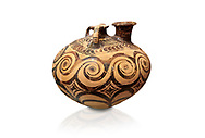 Minoan decorated stirrup jar with swirl design, Zakros Palace  1500-1400 BC; Heraklion Archaeological  Museum, white background. .<br /> <br /> If you prefer to buy from our ALAMY PHOTO LIBRARY  Collection visit : https://www.alamy.com/portfolio/paul-williams-funkystock/minoan-art-artefacts.html . Type -   Heraklion   - into the LOWER SEARCH WITHIN GALLERY box. Refine search by adding background colour, place, museum etc<br /> <br /> Visit our MINOAN ART PHOTO COLLECTIONS for more photos to download  as wall art prints https://funkystock.photoshelter.com/gallery-collection/Ancient-Minoans-Art-Artefacts-Antiquities-Historic-Places-Pictures-Images-of/C0000ricT2SU_M9w